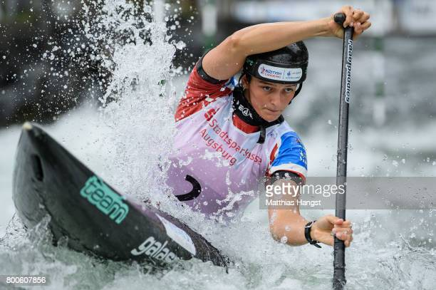 Mallory Franklin of Great Britain competes during the Canoe Single Women's Semifinal of the ICF Canoe Slalom World Cup on June 24 2017 in Augsburg...