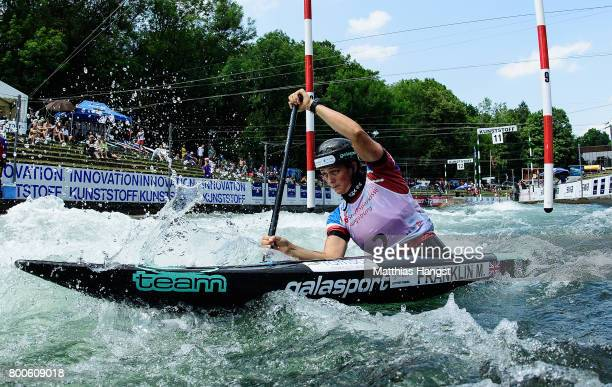 Mallory Franklin of Great Britain competes during the Canoe Single Women's Final of the ICF Canoe Slalom World Cup on June 24 2017 in Augsburg Germany