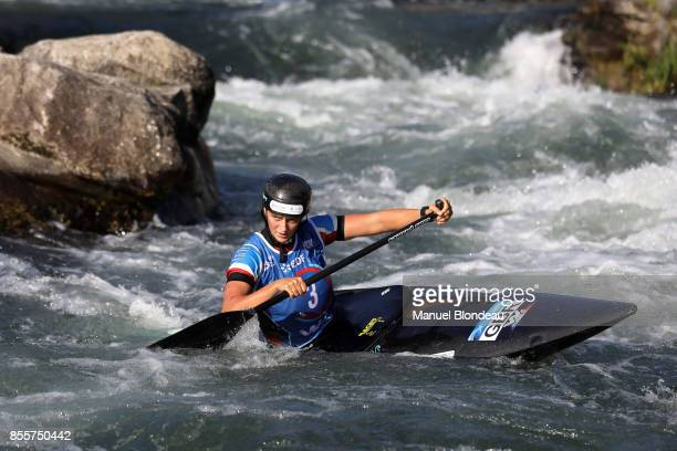 Mallory Franklin of Great Britain during the C1 Final of the 2017 ICF Canoe Slalom and Wildwater canoeing World Championships at Stade d'Eaux Vives...