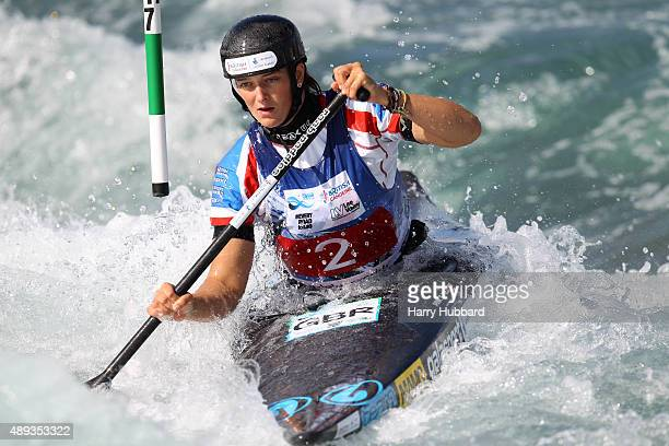 Mallory Franklin of Great Britain in action during the Womens Final Canoe at Lee Valley White Water Centre at Lee Valley White Water Centre on...