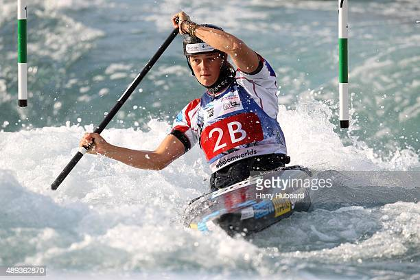 Mallory Franklin of Great Britain in action during the Womens Team Final Canoe at Lee Valley White Water Centre at Lee Valley White Water Centre on...