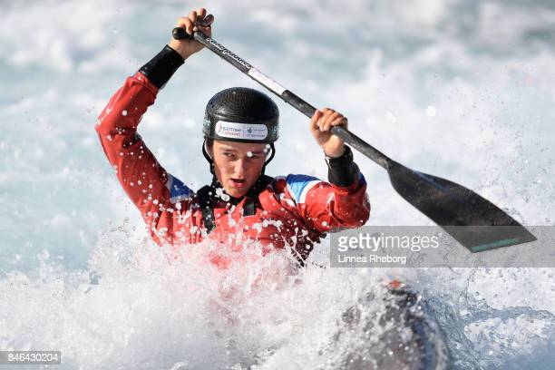 Mallory Franklin of Great Britain trains in the Canoe Single at Lee Valley White Water Centre on September 13 2017 in London England