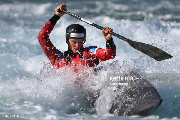 Mallory Franklin of great britain trains in the Canoe Single during training at Lee Valley White Water Centre on September 13 2017 in London England