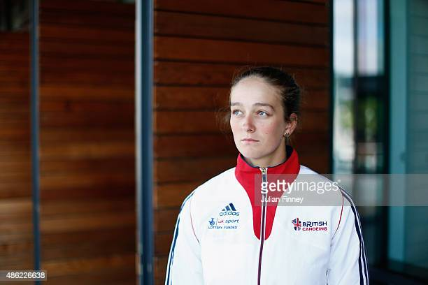 Mallory Franklin of Team GB poses for a portrait during the Canoe Slalom World Championships Media Day at Lee Valley White Water Centre on September...