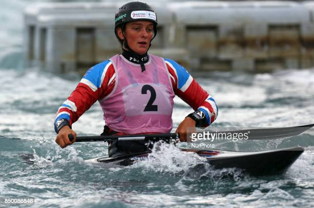 Mallory Franklin of Windsor and District CC competes in Canoe Single Women during the British Canoeing 2017 British Open Slalom Championships at Lee...