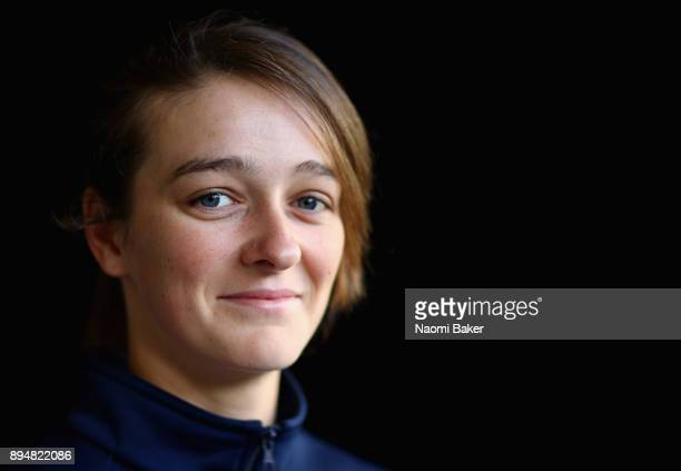 Mallory Franklin poses for a photograph during a Canoe Slalom Training session and Portrait session at Lee Valley White Water Centre on December 14...