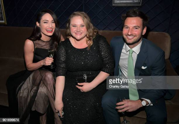 Mallory Jansen Danielle Macdonald and guest backstage at the 7th AACTA International Awards at Avalon Hollywood in Los Angeles on January 5 2018 in...