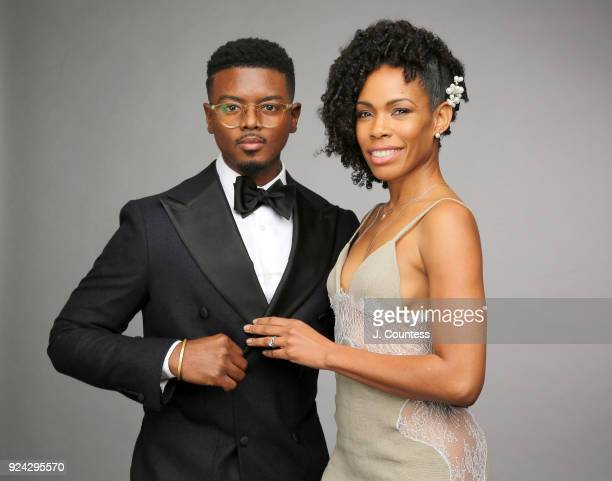 J Mallory McCree and Angela Lewis pose for a portrait during the 2018 American Black Film Festival Honors Awards at The Beverly Hilton Hotel on...