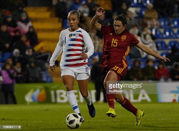 Mallory Pugh of The United States ahead against Silvia Meseguer of Spain during pregame before the International Women's friendly football match...