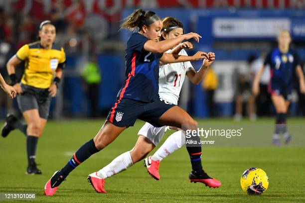 Mallory Pugh of the United States and Riko Ueki of Japan battle for the ball during the second half of the SheBelieves Cup match at Toyota Stadium on...