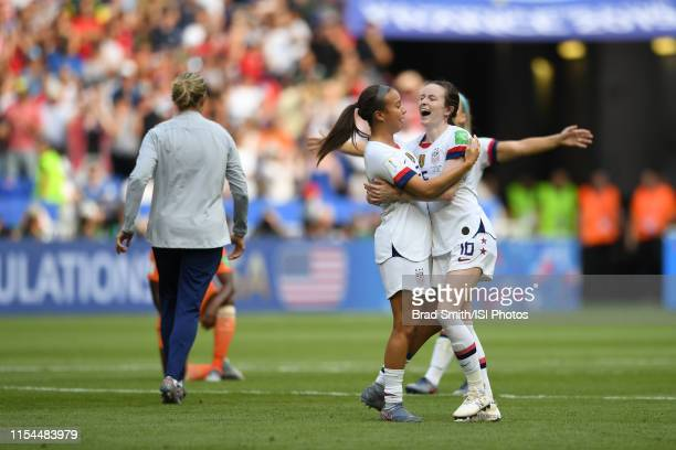 Mallory Pugh of the United States celebrates with Rose Lavelle after the 2019 FIFA Women's World Cup France final match between the Netherlands and...