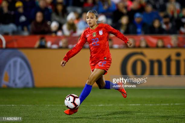 Mallory Pugh of the United States in action during an international friendly against Australia at Dick's Sporting Goods Park on April 4 2019 in...