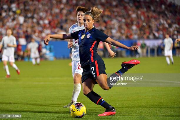 Mallory Pugh of the United States kicks the ball against Mayo Doko of Japan during the second half of the SheBelieves Cup match at Toyota Stadium on...