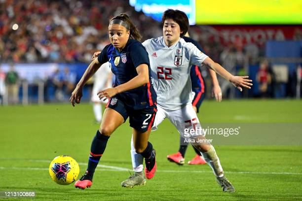 Mallory Pugh of the United States moves the ball against Mayo Doko of Japan during the second half of the SheBelieves Cup match at Toyota Stadium on...