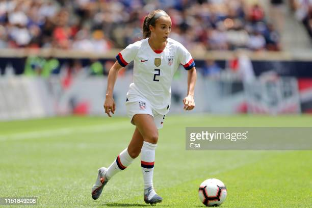 Mallory Pugh of the United States passes the ball in the second half against Mexico at Red Bull Arena on May 26 2019 in Harrison New Jersey
