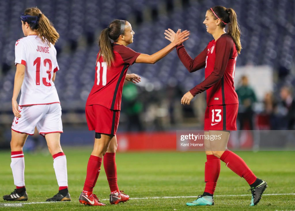 Mallory Pugh #11 of the U.S. women's national team celebrates with Alex Morgan #13 after scoring a goal during the second half against the Danish women's national team at SDCCU Stadium on January 21, 2018 in San Diego, California.
