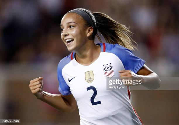 Mallory Pugh of the USA celebrates after scoring a goal in the first half against New Zealand during the match at Nippert Stadium on September 19...