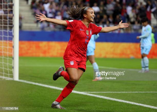 Mallory Pugh of the USA celebrates after scoring her team's eleventh goal during the 2019 FIFA Women's World Cup France group F match between USA and...