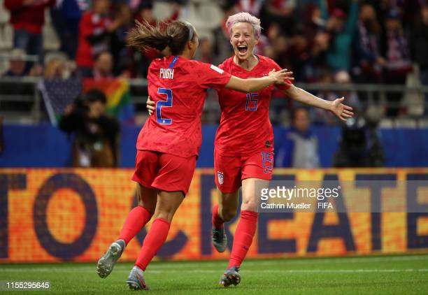 Mallory Pugh of the USA celebrates with teammate Megan Rapinoe after scoring her team's eleventh goal during the 2019 FIFA Women's World Cup France...