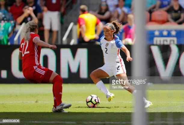 Mallory Pugh of US looks to shoot defended by Ksenia Kovalenko of Russia in the first half during the International Friendly soccer match at BBVA...