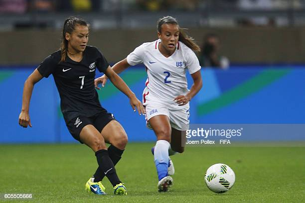 Mallory Pugh of USA and Ali Riley of New Zealand compete for the ball during Women's Group G match between USA and New Zealand on Day 2 of the...