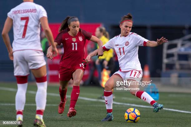 Mallory Pugh of USA and Katrine Veje of Denmark during the international friendly game between US Women's National team and Denmark Women's team held...