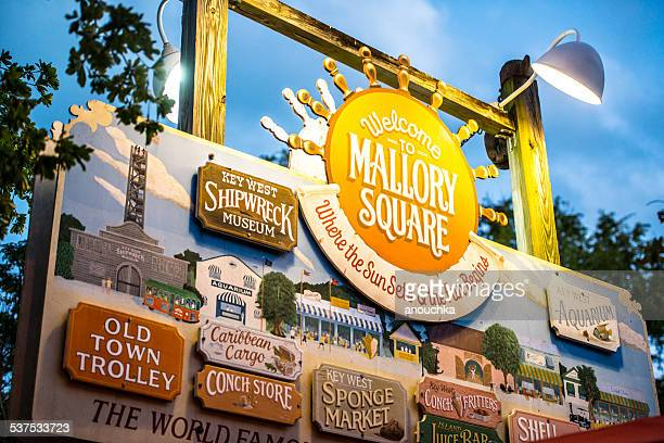 Mallory Square Sign with all tourist attractions, Key West