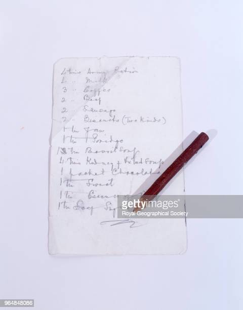 Mallory's pencil and list of supplies George Mallory and Andrew Irvine disappeared en route to the summit of Mount Everest on 8th June 1924 Mallory's...