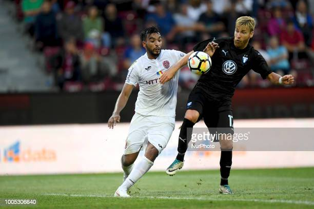 Malmö FF's Rasmus Bengtsson in action against Billel Omrani during CFR 1907 Cluj v Malmö FF UEFA Champions League Second Qualifying Round Stadium Dr...
