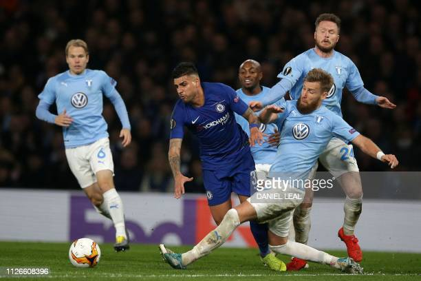Malmö FF's Swedish defender Rasmus Bengtsson fouls Chelsea's BrazilianItalian defender Emerson Palmieri and subsequently receives a second yellow...