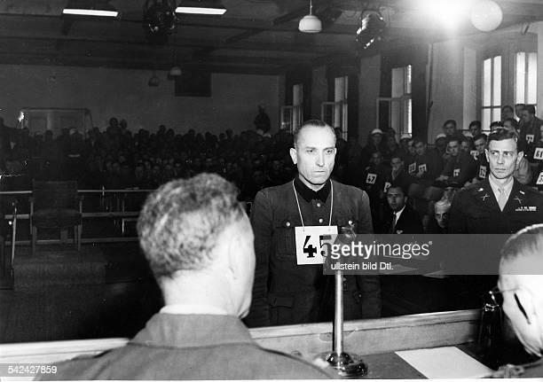MalmedyProzess gegen Angehörigeder SSPanzerdivision 'Adolf Hitler'Der Angeklagte Hermann PriessDachau Mai 1946