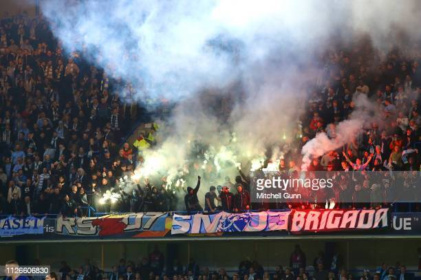 Malmo fans let off flares during the Europa League Round of 32 second leg match between Chelsea and Malmo FF at Stamford Bridge on February 21 2019...