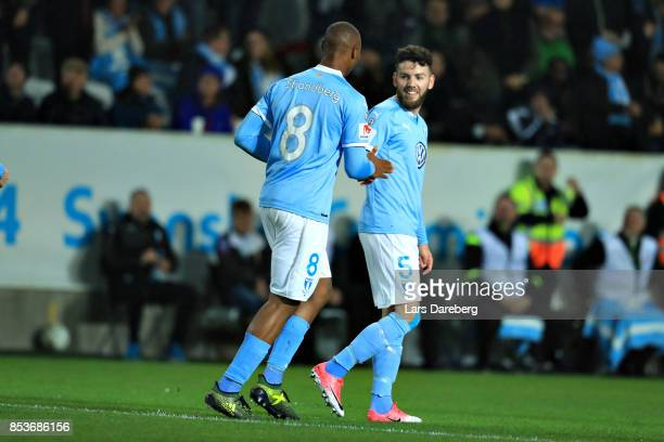 Malmo FF celebrate the 10 goal during the Allsvenskan match between Malmo FF and IF Elfsborg at Swedbank Stadion on September 25 2017 in Malmo Sweden