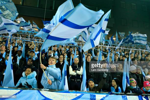 Malmo FF fans during the allsvenskan match between Malmo FF and AIK at Swedbank Stadion on October 23 2017 in Malmo Sweden
