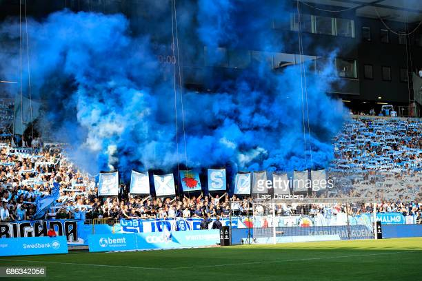 Malmo FF fans during the Allsvenskan match between Malmo FF and IFK Norrkoping at Swedbank Stadion on May 21, 2017 in Malmo, Sweden.