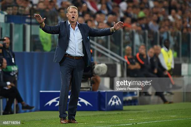 Malmo FF head coach Age Hareide reacts during the UEFA Champions League Group A match between Juventus and Malmo FF on September 16 2014 in Turin...