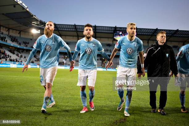 Malmo FF with Jo Inge Berget Erdal Rakip Rasmus Bengtssonand Anders Christiansen after the Allsvenskan match between Malmo FF and Hammarby IF at...