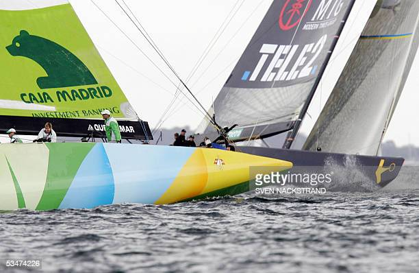 Desafio Espanol 2007 rounds the windward mark ahead of Swedish yacht Victory Challenge in their matchrace in the Louis Vuitton Act 6 of the 32nd...