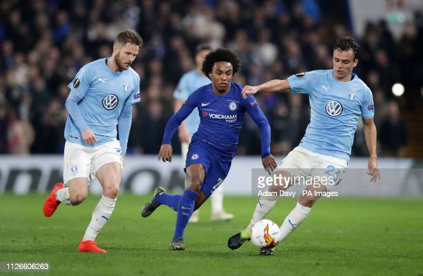 Malmo's Andreas Vindheim and Chelsea's Willian battle for the ball during the UEFA Europa League round of 32 second leg match at Stamford Bridge...