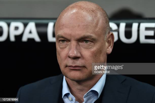 Malmo's German head coach Uwe Rosler looks before the UEFA Europa League Group I football match between Besiktas JK and Malmo FF at the Vodafone Park...