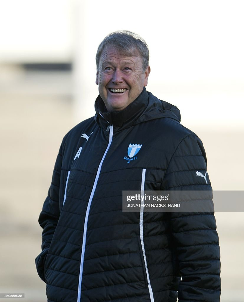 malmo's head coach age hareide smiles during a training session at