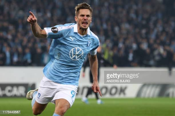 Malmo's Markus Rosenberg celebrates scoring the 11 goal during the Europa League Group B football match Malmo FF v FC Copenhagen in Malmo Sweden on...