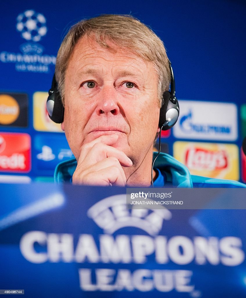malmo's norwegian coach age hareide attends a press conference at