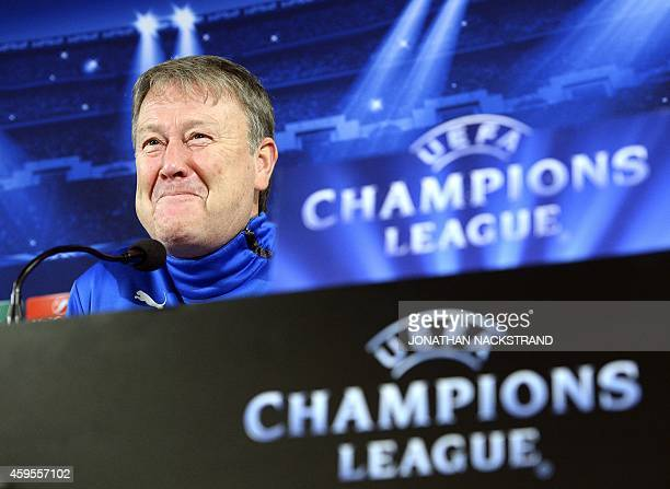 Malmo's Norwegian head coach Age Hareide addresses a press conference at the Swedbank Stadion in Malmo Sweden on November 25 2014 on the eve of the...