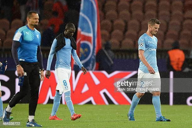Malmo's players react at the end of the UEFA Champions League group A football match between Paris and Malmo on September 15 2015 at the Parc des...