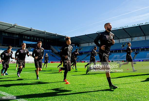 Malmo's players take part in a training session at the Swedbank Stadion in Malmo on September 29 on the eve of the UEFA Champions League Group A...