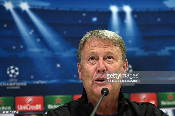 Malmö's Norwegian coach Age Hareide gives a press conference on the eve on the group A Champions League football match Olympiakos vs Malmo at the...