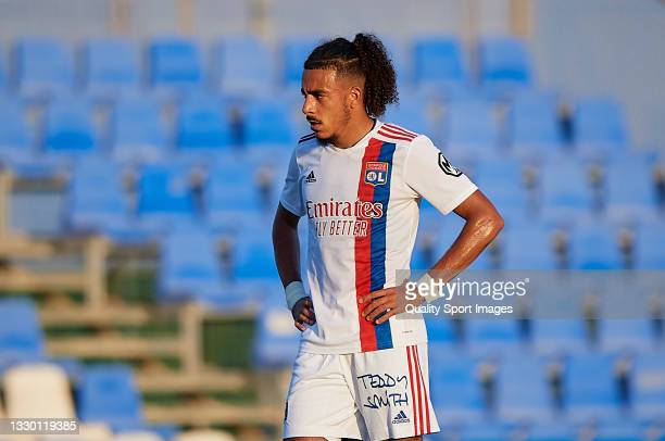 Malo Gusto of Olympique Lyonnais looks on during a Pre-Season friendly match between Olympique Lyonnais and Villarreal CF at Pinatar Arena on July...