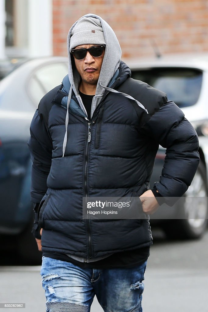 Malo Luafutu, also known by his stage name Scribe, arrives at Porirua District Court on August 17, 2017 in Wellington, New Zealand. The 38-year-old rapper was granted bail after appearing on drug and weapon charges.