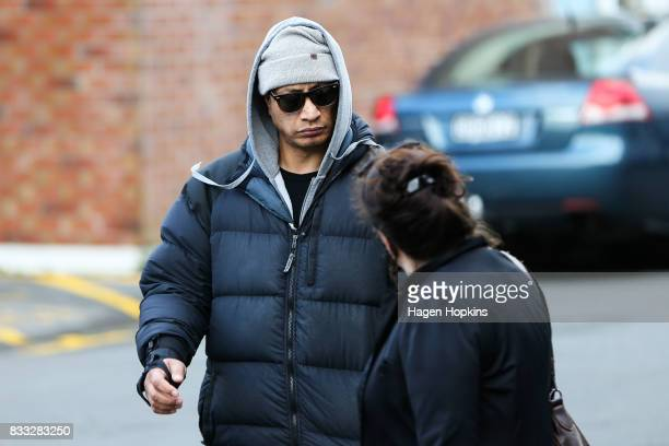 Malo Luafutu also known by his stage name Scribe arrives at Porirua District Court on August 17 2017 in Wellington New Zealand The 38yearold rapper...